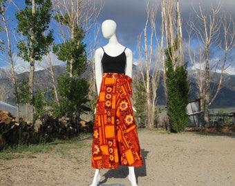 70's Vintage Orange Tropical High Waisted Wrap Skirt (Women's Size Medium)