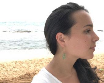 Gold Maui Seaglass Marquis Earrings