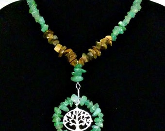 Tiger's Eye and Jade Necklace