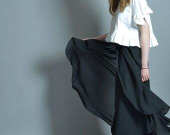 Palazzo Pants, Wide Leg Pants, Gothic Clothing, Black Trousers, Extravagant Pants, Wrap Trousers, Steampunk Clothing, Maxi Skirt, Maxi Pants
