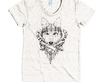 Indian wolf headdress - American Apparel Tri-Blend Short Sleeve Women's Track T - Made in USA
