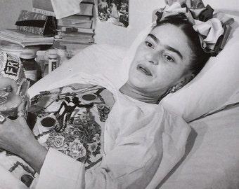 Frida Kahlo-Frida-Photograph-Black & White-Juan Guzman-Plaster cast-Skull-Vintage-Postcard-Mexico-Home-Wall decor
