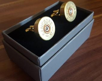 Recycled Shotgun Shell Cufflinks, wedding cufflinks, anniversary gift, steampunk cufflinks, bullet cufflinks, cyberpunk cufflinks