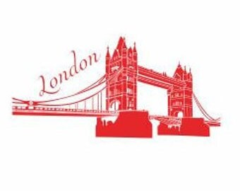 London Skyline Decal:  London Decals, Famous Cities, London Bride decor, London Party Decor, London Theme Decals, Living Room Decals,