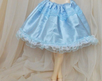 MSD BJD 1/4 doll clothes - fits minifee and also iplehouse jid - short lolita blue satin skirt with lace and frill - wide and puffy blue