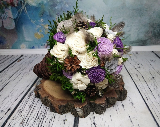 BIG ivory lavender plum grey green brown rustic woodland wedding BOUQUET, Sola Flowers, guinea hen feathers, cypress, bridal, rustic wire
