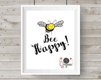 Bee Happy-printable nursery wall art cute bee kawaii nursery playroom kids room children déco funny art for children fun teens