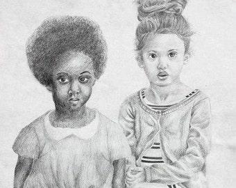 Wagon Girl Drawing Print
