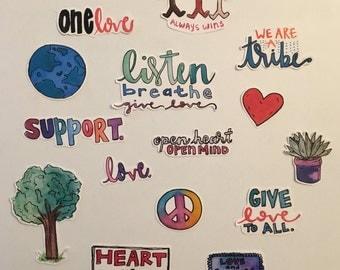 Peace + Love Stickers