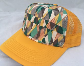 Geometric Design Trucker Adult Hat in Multiple Colors