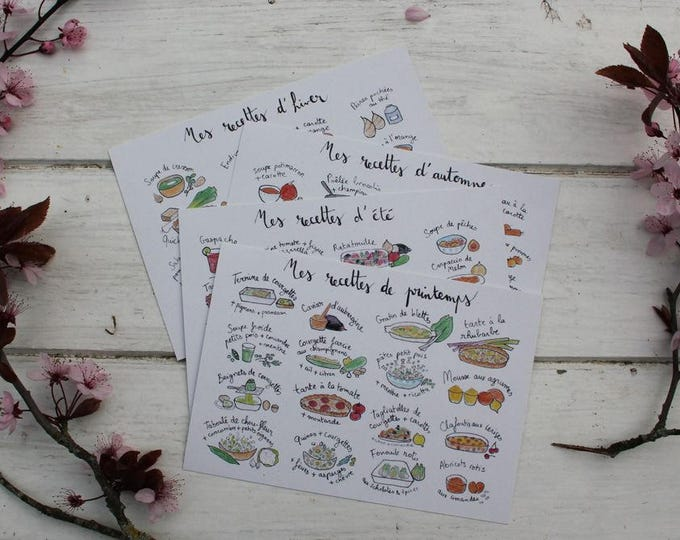 4 illustrated cards (ink and watercolor) ideas recipes season - Spring, summer, fall, winter - kitchen decor
