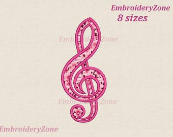 Treble clef Musical Embroidery design Applique. Embroidery design applique Music treble clef.Music key embroidery design. 8 sizes.