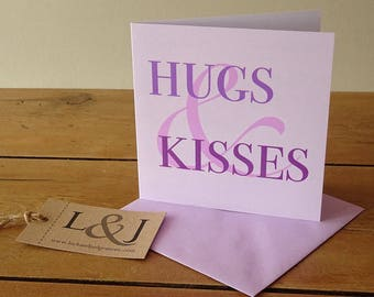 Hugs & Kisses, Correspondence Card, Missing You Card, Romance Card, BFF Card, Card For Friend, Love Card, Anniversary Wishes, Miss You Card
