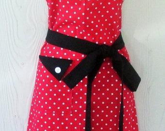 PLUS SIZE Apron, Polka Dot Apron , Red and White Polka Dots , Red and Black Apron , Vintage Style Apron , Women's Apron , KitschNStyle