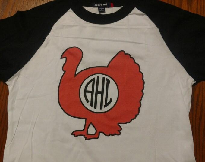 Thanksgiving T shirt - monogrammed turkey, 3/4 sleeve baseball style raglan. Thanksgiving, Fall, Hunting