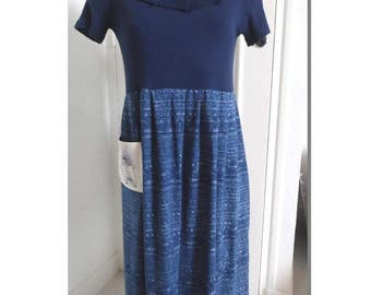 "Denim and cotton ""farm girl"" dress neck ruffle, size 38/40/42"