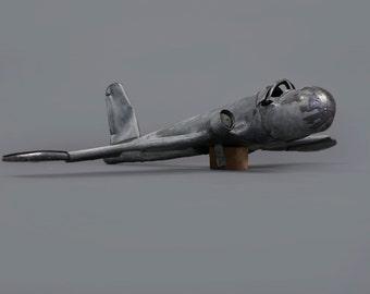 Vintage Handmade Metal Plane Monoplane Airplane Model One Of A Kind