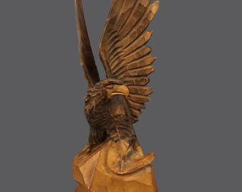 Vintage Hand Carved Wooden Eagle Figurine Sculpture Made In Russia Russian Art Eagle Statue
