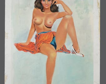 Vintage Acrylic Painting Topless Naked Woman Art Vintage Painting 15 x 20