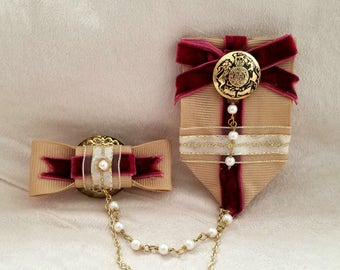 Victoria Double Medal-Style Brooch/Clip