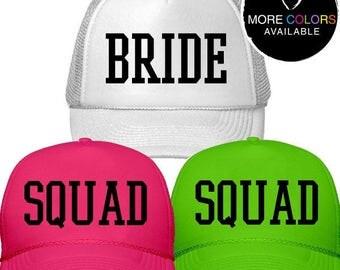 BRIDE or SQUAD Trucker Hat /// Bachelorette Party Hats, Bride Squad Hat, Bridesmaid Hat | #1354