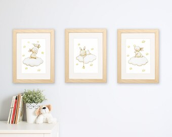 "SET of three Nursery Art ""BUNNIES in the STARS"" Archival Print, Nursery Illustration."