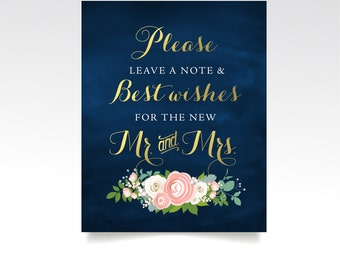 The JENNY . Guestbook Sign Best Wishes Mr & Mrs . PRINTED or PDF . Gold Navy Chalkboard Wedding . Blush Cream Rose Peony Dusty Miller