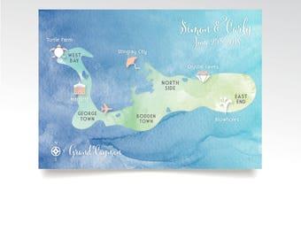 Grand Cayman Island Map 5 x 7 Watercolor Wedding Nautical Cruise Map Tropical Beach Hawaii Destination Blue Teal Blush & White Calligraphy