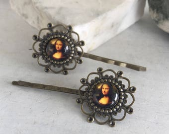 Hair Pins, Bobbie Pins, Bobby Pins, Mona Lisa Hair Pins, Mona Lisa Jewelry, Hair Jewelry, Bronze Hair Pin, Bridal Hair Pin, Artist Jewelry,