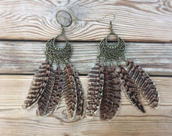 Antique Bronze Ornate Feather Drop Earrings - Feather Jewelry - Festival Jewelry - Natural Feathers - Hippie Gypsy Earrings