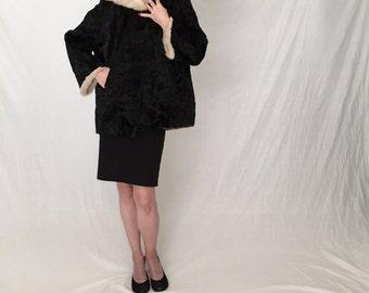 Broadtail Persian lamb fur coat women M/Vintage 50s fur/blonde white mink coat/Black fur coat/short fur jacket 1950s swing 60s coat Jackie O