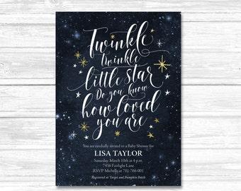 Baby Shower Invitation, Twinkle Twinkle Little Star Invite, printable invitation, printable twinkle twinkle, Digital invite, Motif Visuals