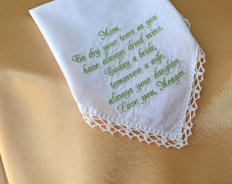 Gift for mom from daughter Wedding gift for mother of the bride gift wedding handkerchief for mom Mother of the bride gift from daughter