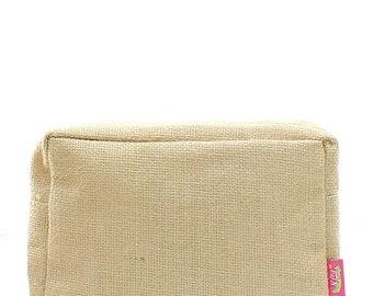 Burlap Jute Monogrammed Cosmetic Case Toiletry Bag