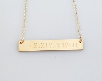Large bar necklace/ 14K Gold filled Bar necklace/ personalized / hand stamped/ Childrens names/ Dates/ Initials/Gift