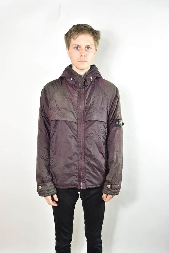 Vintage Rare Purple Stone Island Hooded Winter Jacket