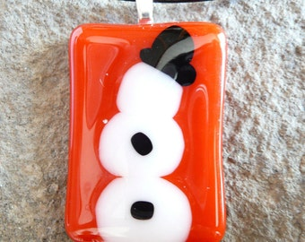Snowman Fused Glass Pendant Necklace Christmas Snowman Necklace Handmade gift under 20 Dollars