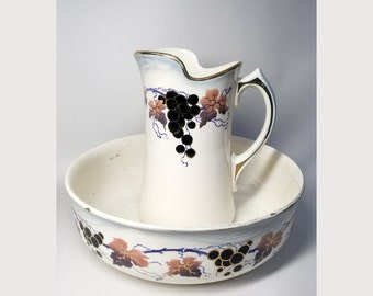 French Vintage Faience Pitcher and Wash Basin Bowl - Grapes Decor - Early 20th Century