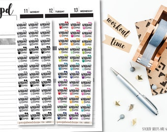 Workout Time Stickers - Planner Stickers - FS46