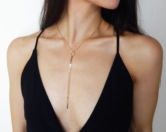 14K Gold-Filled Delicate Y Coin Necklace