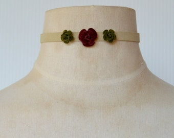 Tan Suede Choker with Suede Rosette Flowers