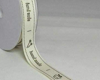 "By the Metre Printed ""HANDMADE""Cotton Ribbon / Tape  Off WHITE / CREAM 15 mm Sewing Ribbon Printed Tape Handmade Tape Custom Tape Label Tape"