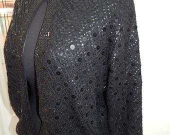 Black Beaded Cardigan Hook Closure Sweater 50-60's Mid Century Pinup Rockabilly Viva