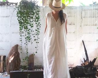 White Beach Kaftan/ Kaftan Dress/ White See Through Dress/ White Resort Dress/ White Cotton Dress/ Beach Cover Up/ White Maxi Dress/ Caftan
