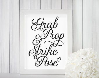 Grab a Prop & Strike a Pose Printable, Wedding, Bridal Shower, Party, Birthday