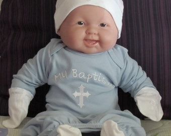 Baby Boy Baptism Christening Cross Personalized Gown /Sock Booties Shoes/Scratch Mittens/Hat 4 Piece Set