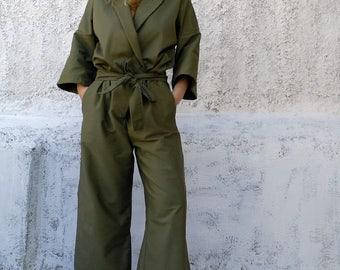 Jumpsuit-womens jumpsuit-cabardine jumpsuit-womens overalls-one piece suit-army green jumpsuit-stylish jumpsuit-chic jumpsuit-womens fashion