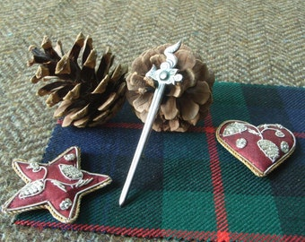 "Silver Scottish Kilt Pin - ""Maeshowe"" Dragon Winged Sword. Unusual Kilt Pin for Highland Wear."