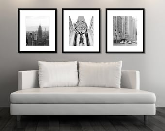 SALE, New York Wall Art, Set Of 3 Prints, Black And White Photography