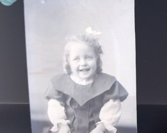 Antique Glass Plate Photo Cute Victorian Smiling Toddler Photograph Negative Instant Ancestor